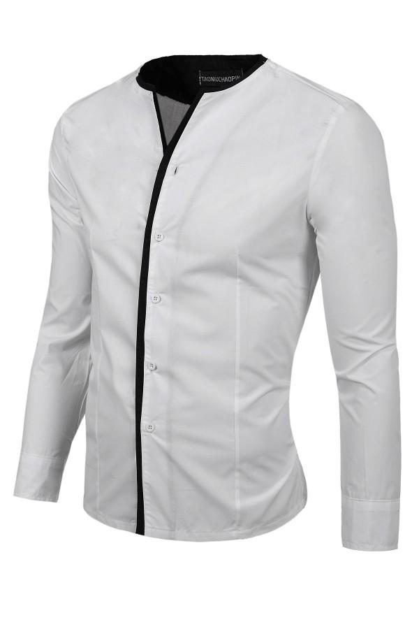 Мъжка бяла риза с черни копчета