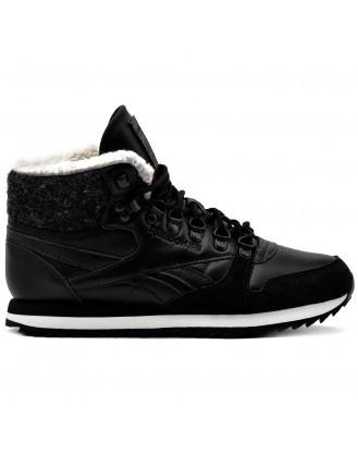 REEBOK CL LTHR MID WW - зимни обувки от естествена кожа - черно